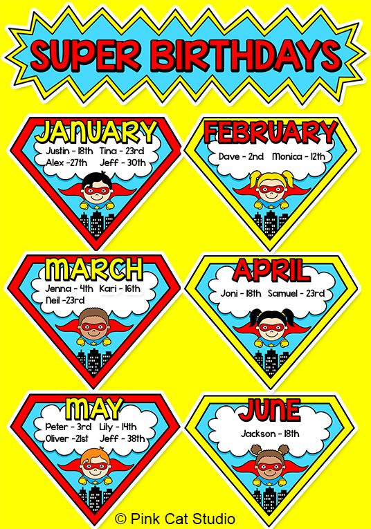 Celebrate students' birthdays with this SUPER fun Superhero theme birthday board! By Pink Cat Studio
