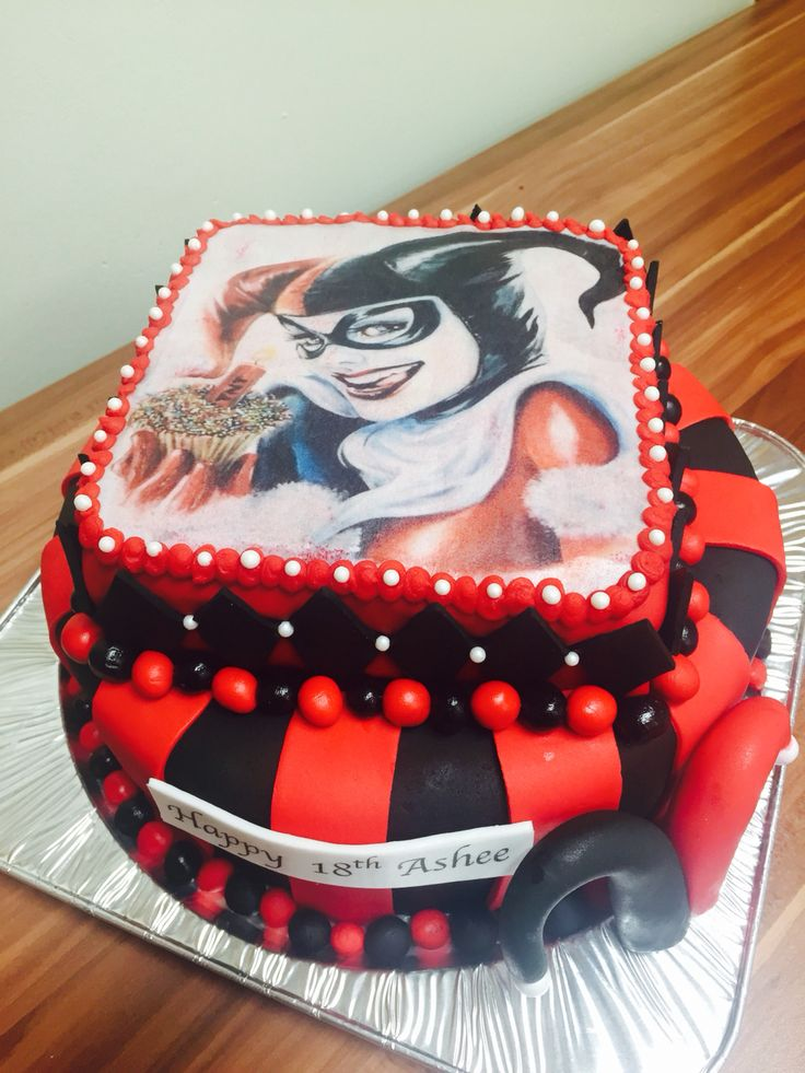 Harley Quinn Mountain Dew flavored cake with Mountain Dew buttercream