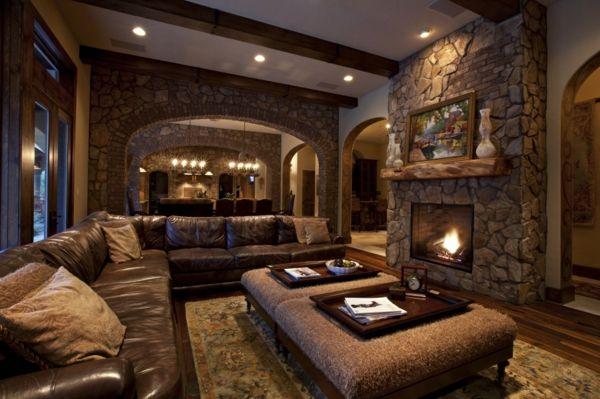 farbe wohnzimmer ideen:wohnzimmer-rustikal- braune-farbe