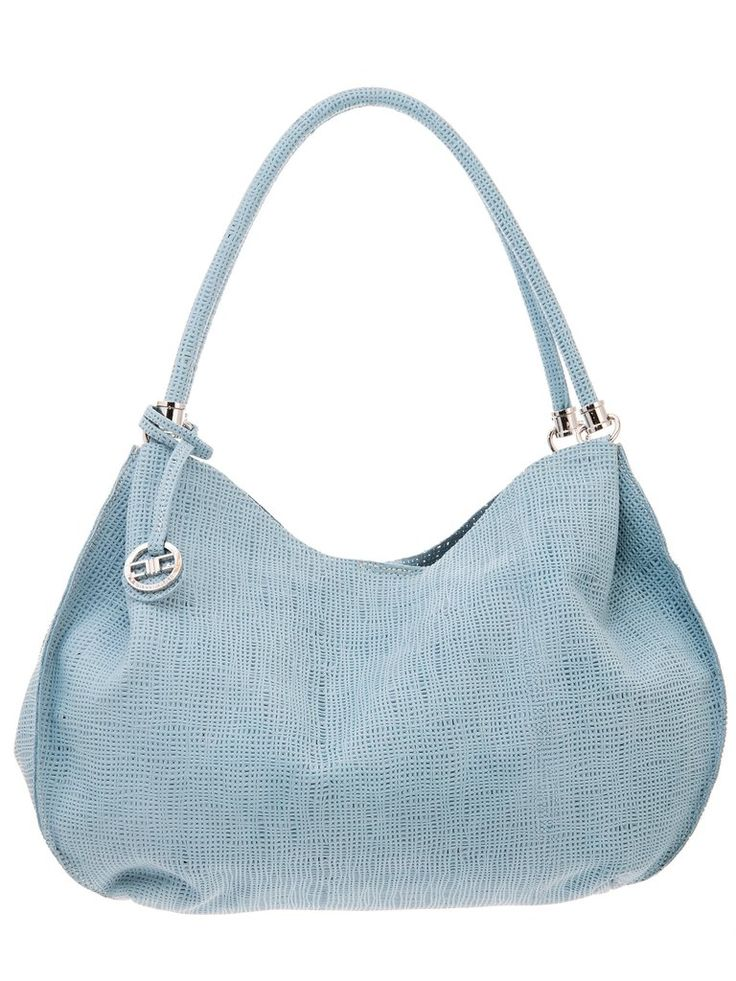 Elissa-Perforated Leather Hobo Bag-Powder Blue #Blues #Leather #w