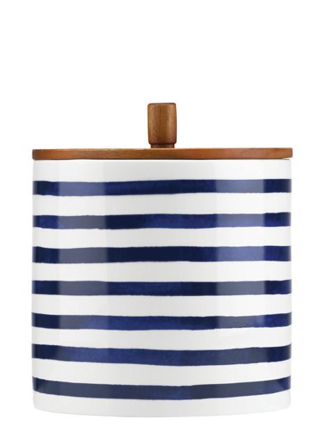 Large Striped Kate Spade Canister for Kitchen Counter