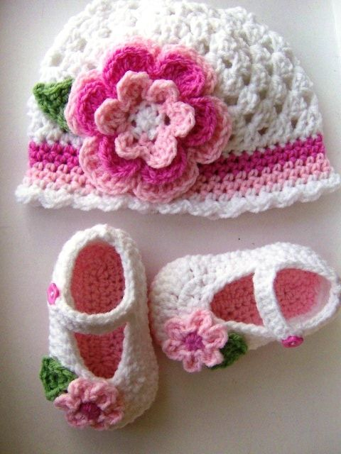 Crochet Baby Shoes And Hat Made crochet hat and shoe