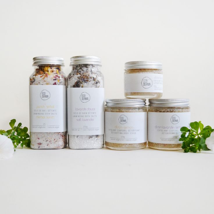 Our bath salts & body scrub collection, by Écoderma.     #bathsalts #rituals #skincare #ecoderma #packaging #minimalism #beauty #naturalbeauty #bodyscrub #sugarscrub