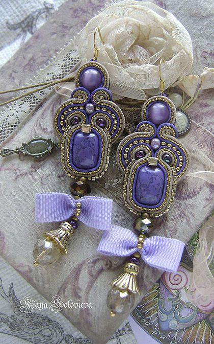 Серьги ручной работы. Ярмарка Мастеров - ручная работа Серьги лиловые бантики. Handmade.