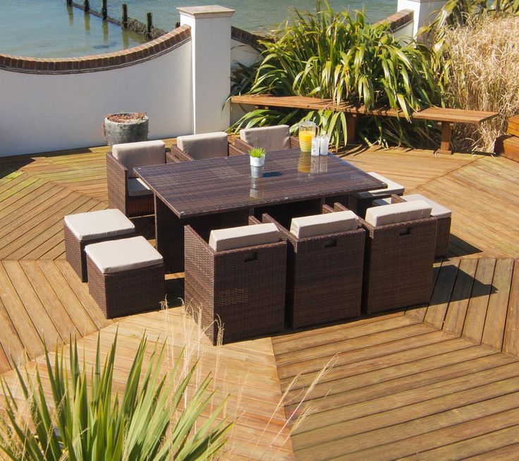 Rattan 6 Piece #Garden #Dining #set includes six seats, four stools and a #table with a #Square structure with tempered glass on top.