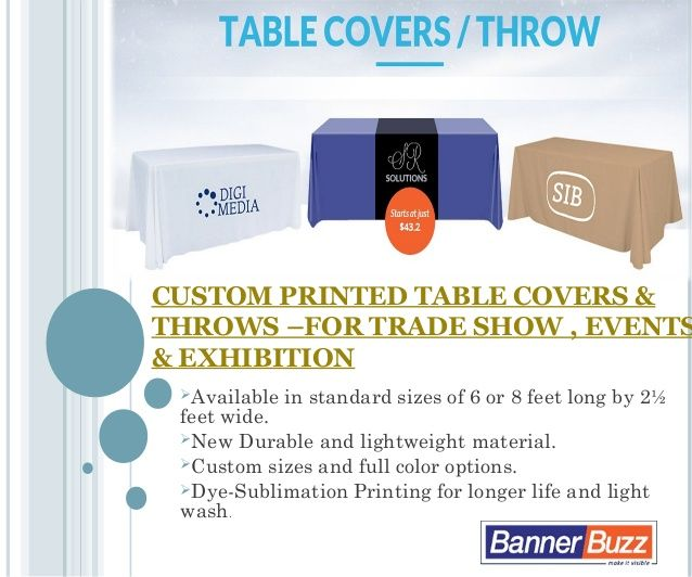 Customize with Your Message or Log on ‪TradeShow‬, ‎Events‬ & ‪Exhibition‬ Display Custom Table Covers - BannerBuzz