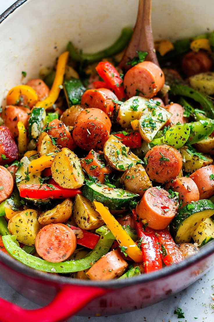 This one-pot sausage and veggies is a down home, healthy, inexpensive, and delicious meal that you'll love to make again and again. eatwell101.com