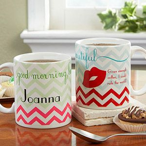 "LOVE LOVE LOVE this ""Good Morning, Beautiful"" personalized coffee mug ... the colors are so pretty and who doesn't love Chevron!? I want this so bad!!! #Coffee #Mug #Personalized #PersonalizationMall: Color, Good Morning"