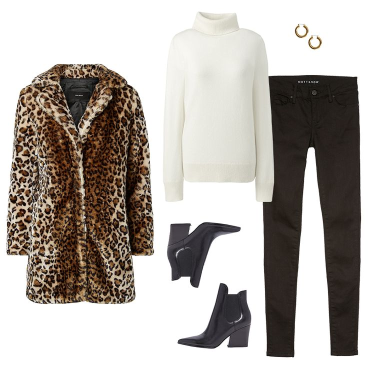 - Channel Diane's look with a faux-fur coat, pointed-toe boots and chunky hoops to enliven black skinnies and an ivory turtleneck.