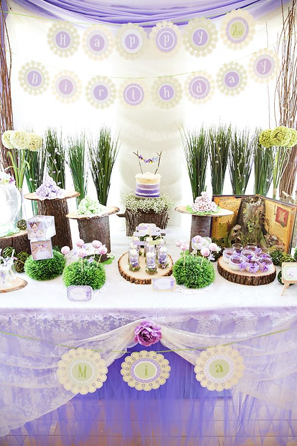 Dreamy Lavender Woodland Fairy Party: Gorgeous Dessert Table