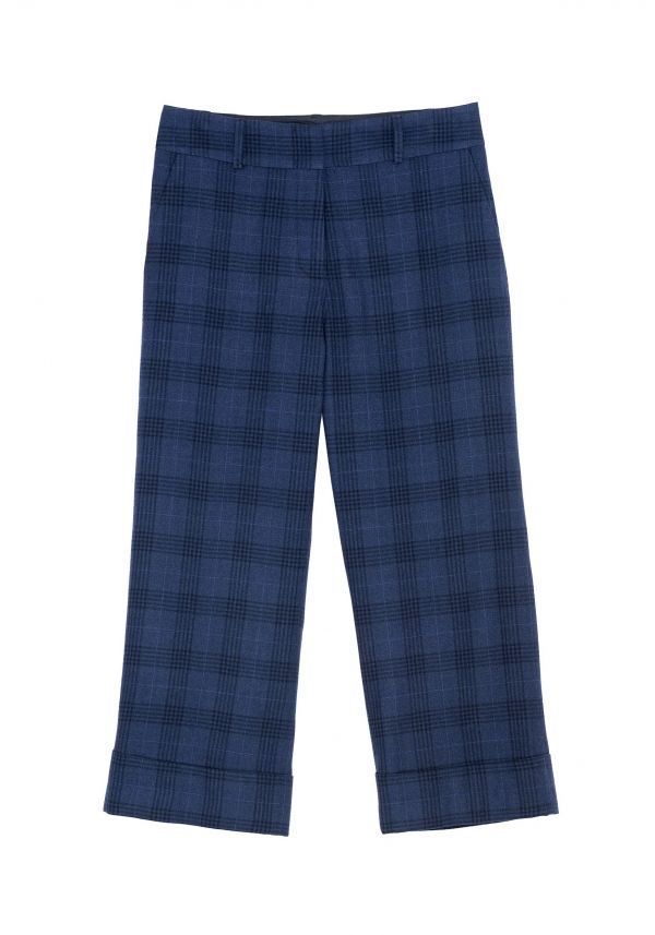 QL2 - MABLE OVERCHECK WOOL WIDE LEG PANT  (LIKE A CHILD THROUGH THE SQUARES) #women's #fashion