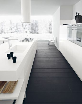 Minimalist Kitchen // Gloss white lacquer | Cesar