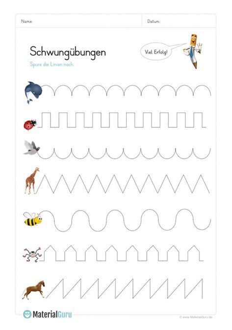 NEW: A free pre-school worksheet on which children can practice swing exercises with animals. Download for free now!