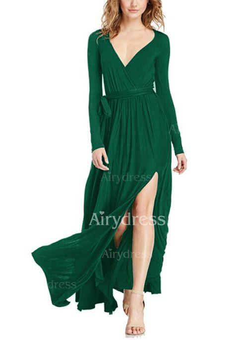 Mieszanka Bawełny Solidny Długi Rękaw Maxi Seksowne Sukienki (1031217) @