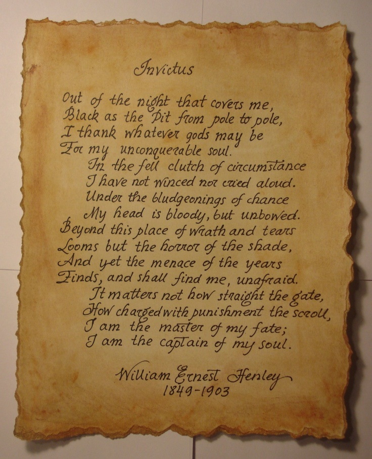 an analysis of the use of language in invictus a poem by william ernest henley Here is an analysis of we henley's famous and inspiration poem, invictusit is said that william ernest henley wrote the poem in 1875 for a scottish flour merchant named robert thomas hamilton bruce.