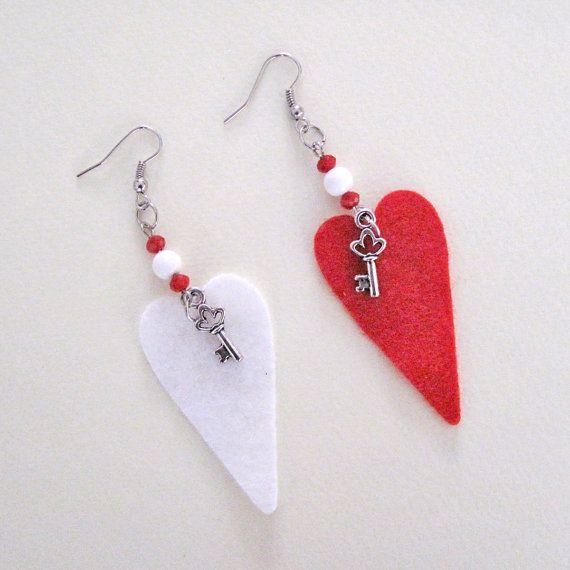 Valentine earrings key to my heart earrings Heart earrings