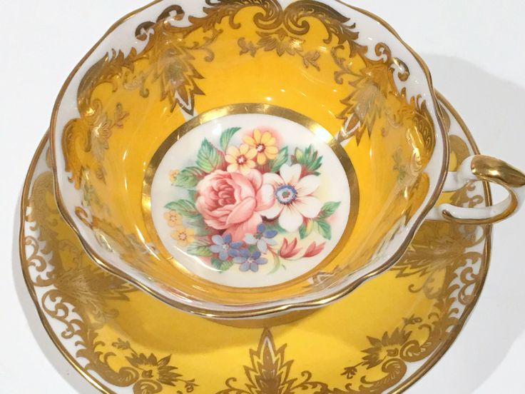 Kingston Gold Paragon Tea Cup and Saucer, Tea Set, English Teacups, Bone China, Antique Tea Cups, Tea Party, Pink Rose Cups, Wedding Gift by AprilsLuxuries on Etsy