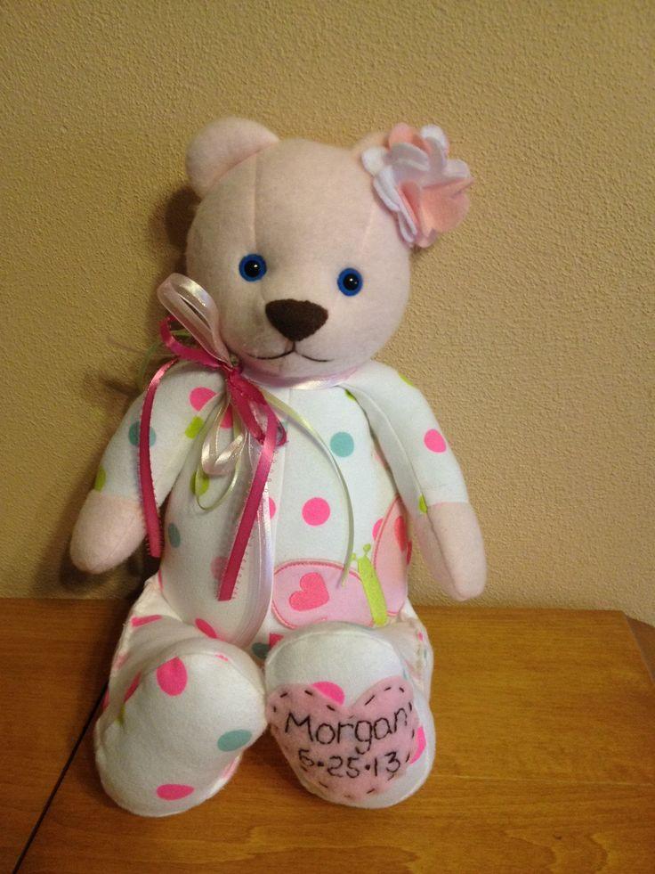 Keepsake Memory Bear Made From Sleeper Or Onesies Kid