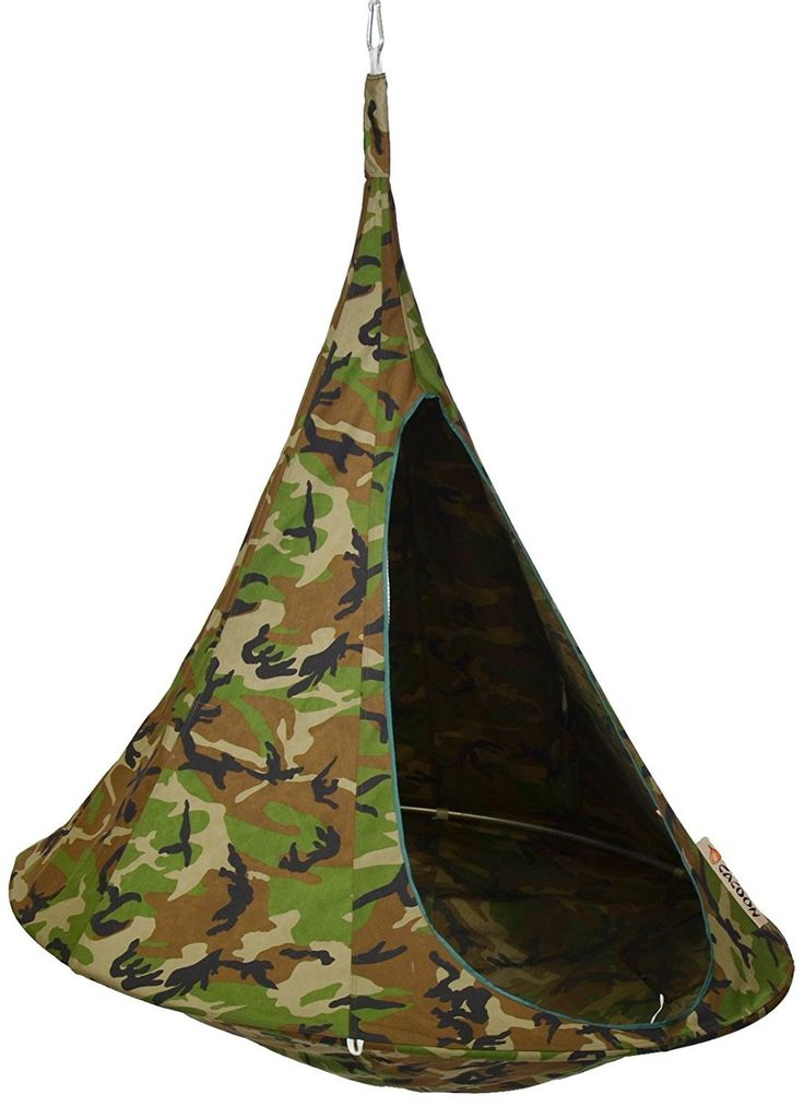 CACOON  |  Double - Camouflage Hanging Tent - Swinging in the trees in comfort is a good way to relax - Use the Cacoon Hanging Tent, and do it in serious style! - Click for more... #cacoon #cacoontents #hangingtent #botanex #botanexstore #qualityproducts #outdoors #camping #glamping #wantone #tents