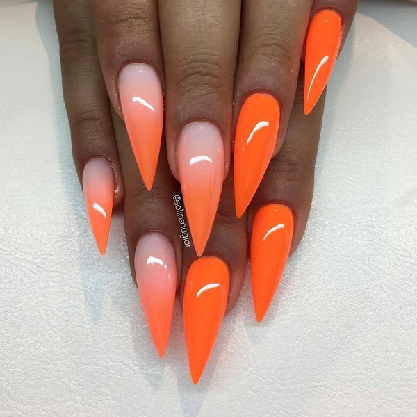 Orange Ombre Pointy Nails Pointy Nails Orange Ombre Nails Orange Acrylic Nails