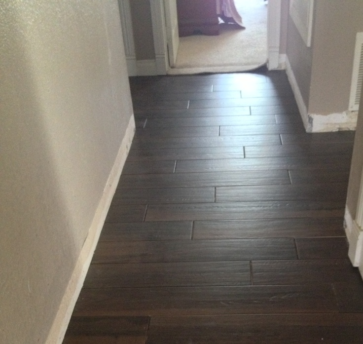 in process wood plank tile in hallway 535 sq ft