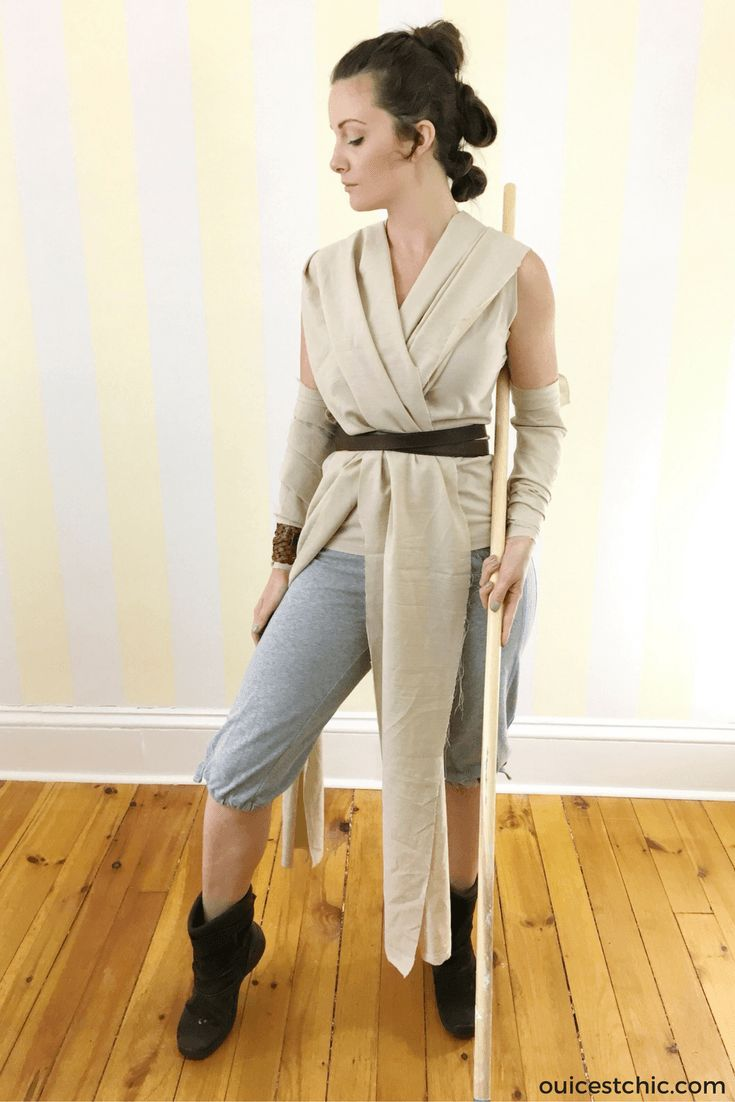 Rey Halloween costume and hair tutorial video from Star Wars The Force Awakens. My cheap and easy DIY family Star Wars costume. I will be Rey; I have a BB-8 halloween costume for my baby; and a kids Kylon Ren halloween costume for my toddler. I made this DIY halloween costume using secondhand items I found at thrift store, Value Village and things I found at home.