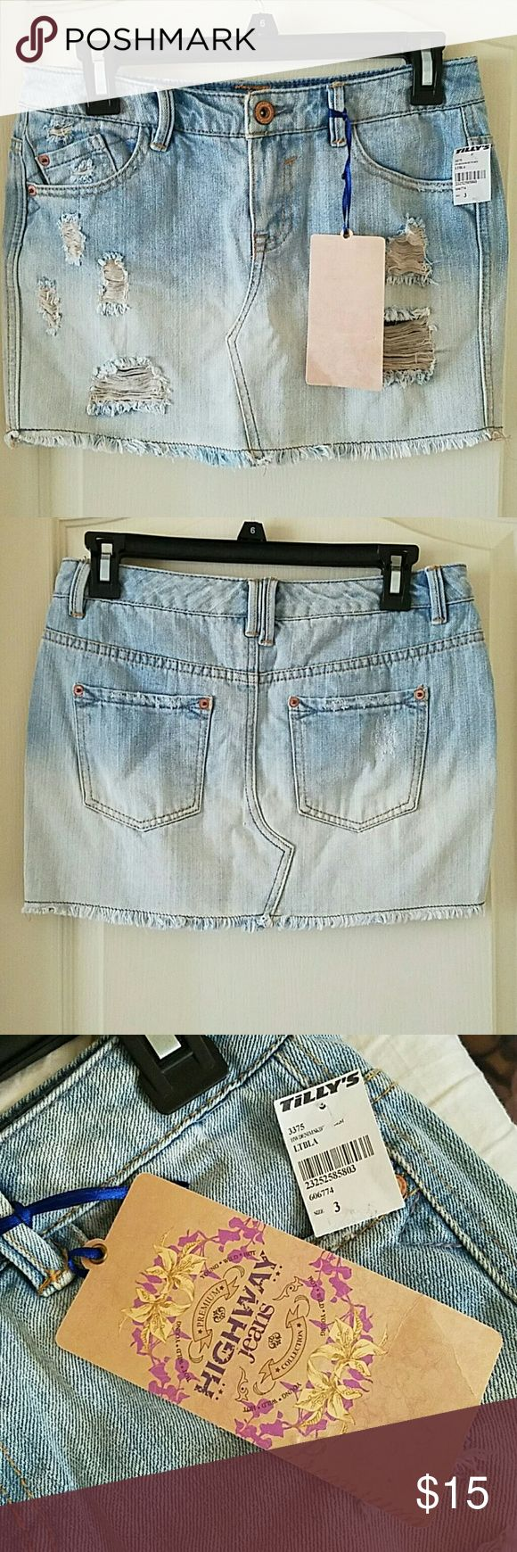 Distressed Jean Mini Skirt Brand new with tags. Tilly's Skirts Mini