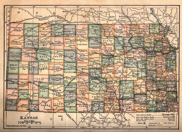 Lovely hi-res Kansas map from 1910