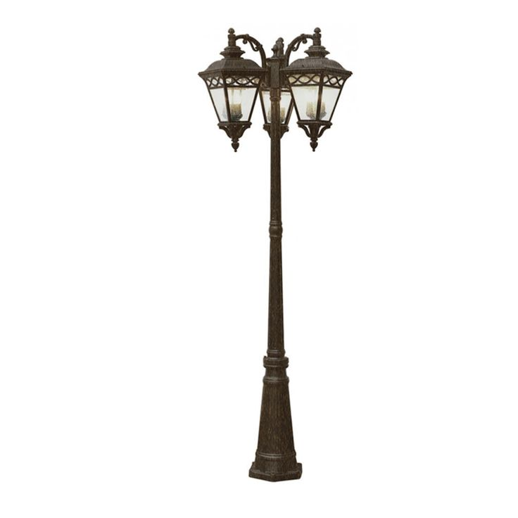 Bring home a touch of transitional charm with this Cambridge 9 light lamp post. Finished in burnished bronze, adorning seeded shades and incandescent, candelabra base bulbs, this fixture is not only a pleasant aesthetic, but a utilitarian success.