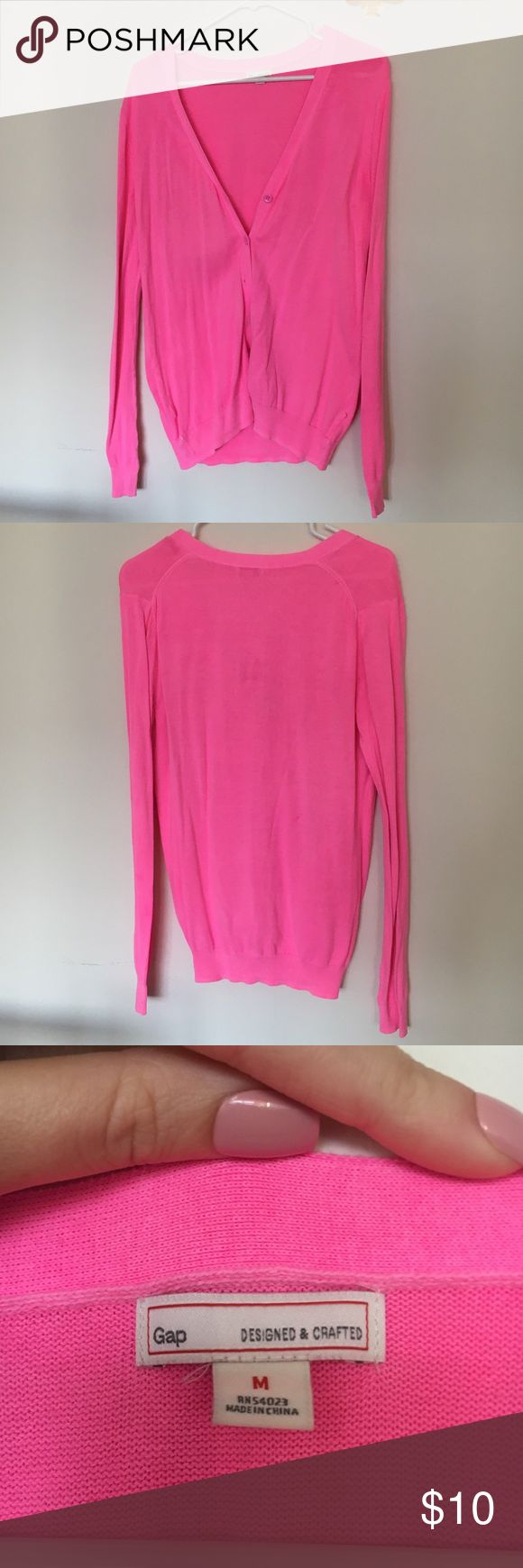 GAP pink cardigan GAP pink cardigan. Very light, very soft. A great staple for your closet for layering! In great condition, but notice there is a small mark on the back. Could come out in the wash, I have not tried. GAP Sweaters Cardigans