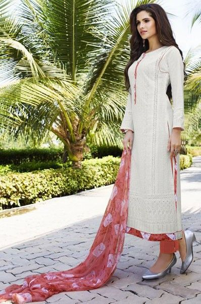 Party Wear White Cotton Mirror Work Dress Material