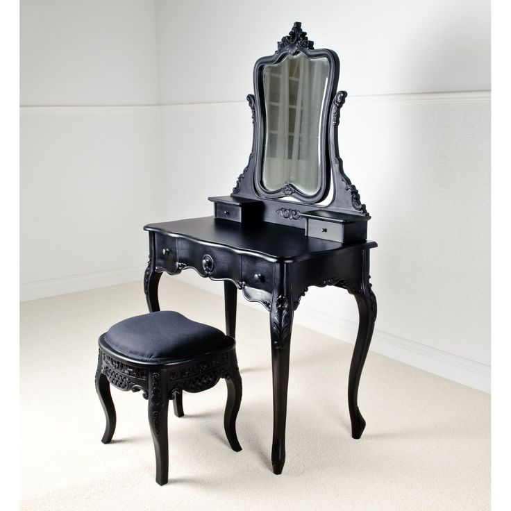 Terrific Black Painted Antique Dressing Table With 5 Drawers As Make Up  Vanities Storage And Single Square Stool In Black And White Master Bedroom  Furniture ... - 25+ Best Mediterranean Bedroom Furniture Sets Ideas On Pinterest