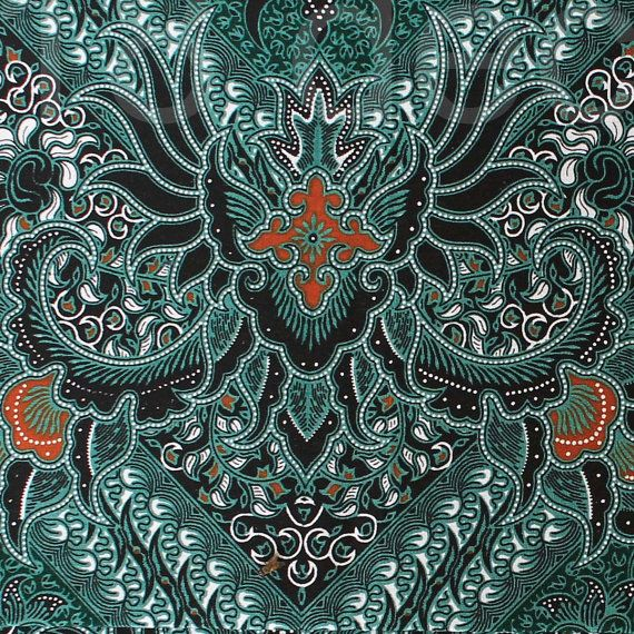 green orange vintage traditional Indonesian Batik by 18dec, $13.00