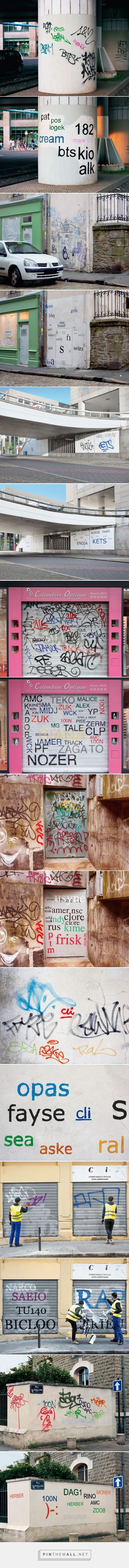 Best Street Art General Images On Pinterest Street Art - Guy paints over graffiti and rewrites them in a more legible way