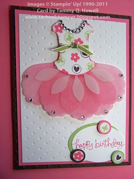 Sweet Pink Tutu Card...Blossom Petals Builder punch and round tab punch. Great accent for dance review page.