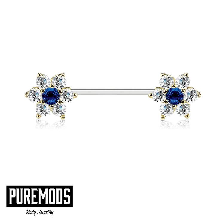 Check out these Flower Nipple Rings with Blue and Clear CZ Gems!