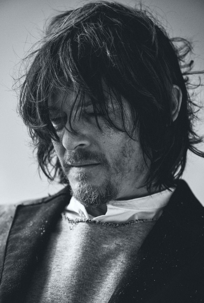 Flaunt Magazine | People: Norman Reedus Raw edge cotton Victor coat, Raw edge cotton Sweatshirt, and Cotton Mulholland shirt by Rag & Bone. PHOTOGRAPH: CARLOS SERRAO