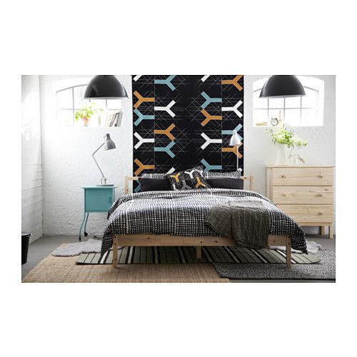 fjellse bed frame, fabric hanging headboard feature