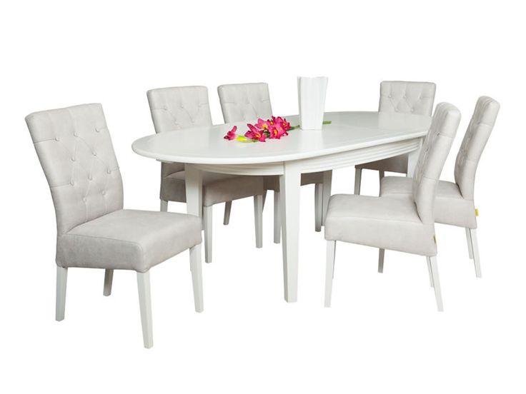 Set masa extensibila ovala pentru dining, cu 6 scaune tapitate Lisa, potrivita pentru mobila de sufragerie, realizata din placi melaminate si MDF vopsit alb