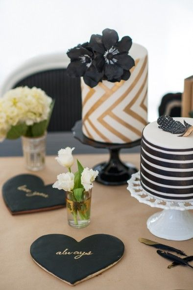 Modern black, gold and white wedding cake theme by Kien and Sweet, photo by Blush Wedding Photography