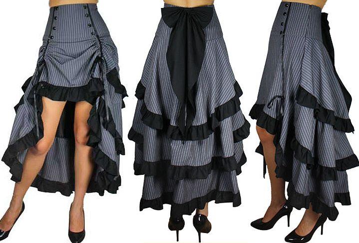Grey Pinstripe Steampunk Show Girl Skirt