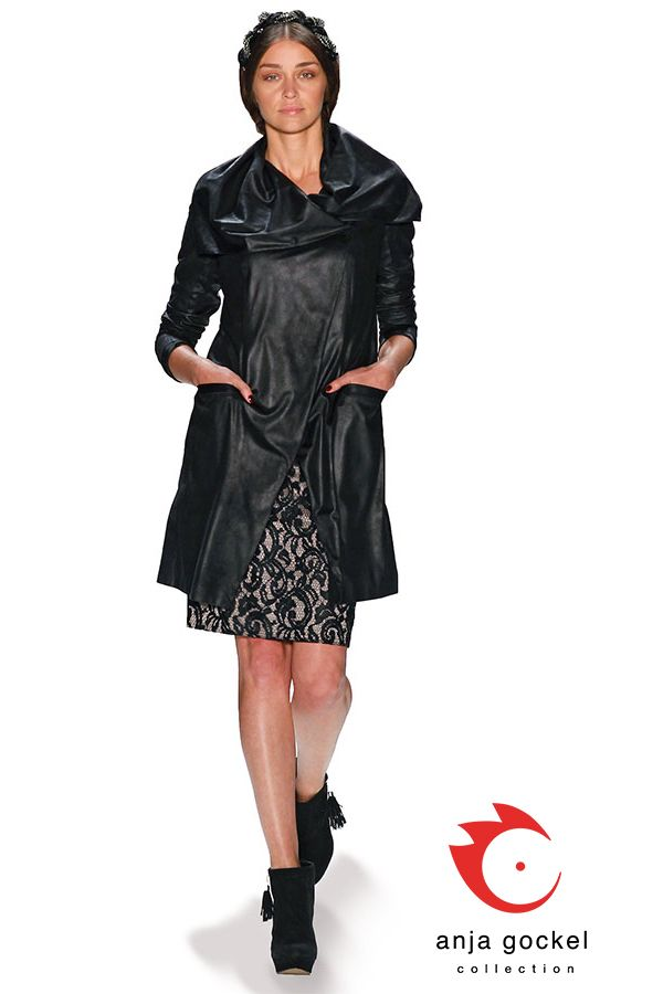 Fake fur coat combined to a black lace pencil skirt