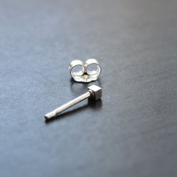 Tiny Single Sterling Silver Square Stud - 2mm x 2mm, solid stud earring with butterfly back by AlexStoneJewellery on Etsy