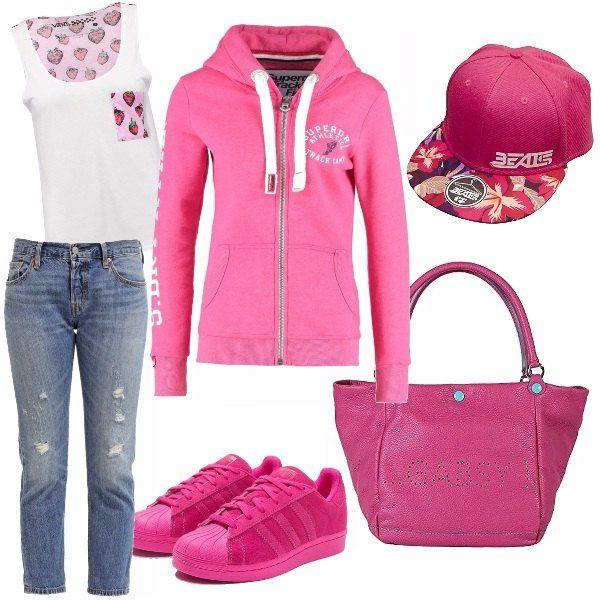 Un outfit comodo da utilizzare tutti i giorni per le ragazze sportive amanti del colore rosa! Adatto alla bella stagione in quanto davvero molto colorato.