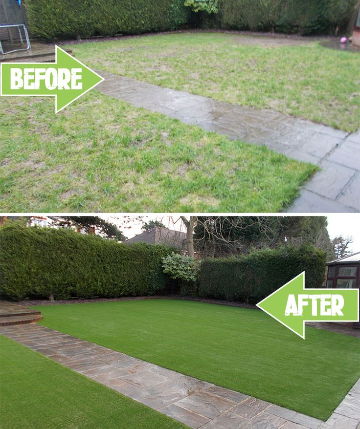 Before and after photos of a completed artificial lawn installation in Caterham, Surrey