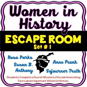 The Women in History Escape Room will take students on a secret mission around the classroom! This escape room has students decode facts about four inspirational women who changed the world. The women included in this resource are: Rosa Parks, Susan B.