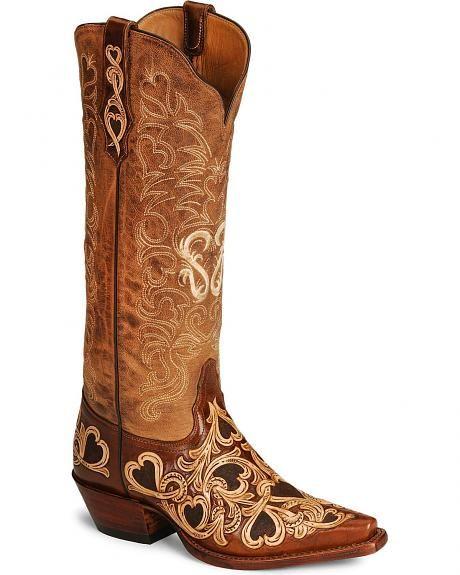 Tony Lama Signature Series Hearts & Scroll Cowgirl Boots - Snip Toe