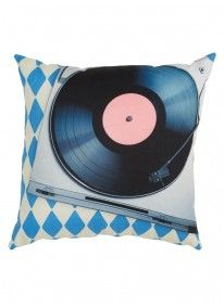 Nostalgic Record Player Scatter Cushion Multi-colour