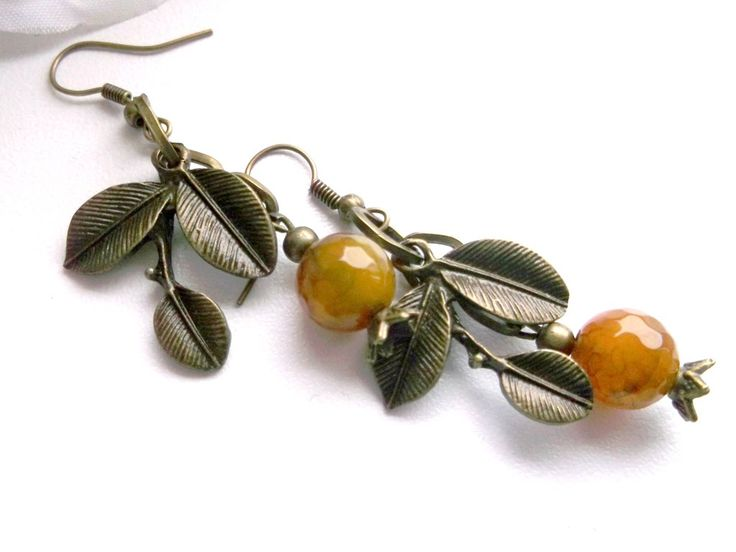 Brownish green agate dangle earrings