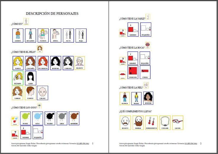 MATERIALES - DESCRIPCIÓN DE PERSONAJES (Material) El objetivo de este material es la descripción de personajes con la ayuda de plantillas para aumentar la producción oral. http://arasaac.org/materiales.php?id_material=1178